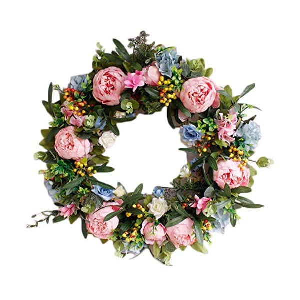 Pauwer 22″ Large Pink Peony Flower Wreath with Blue Hydrangeas Artificial Floral Door Wreath Realistic Spring Wreath for Front Door Wedding Window Wall Home Decor (22″ Mixed Floral)