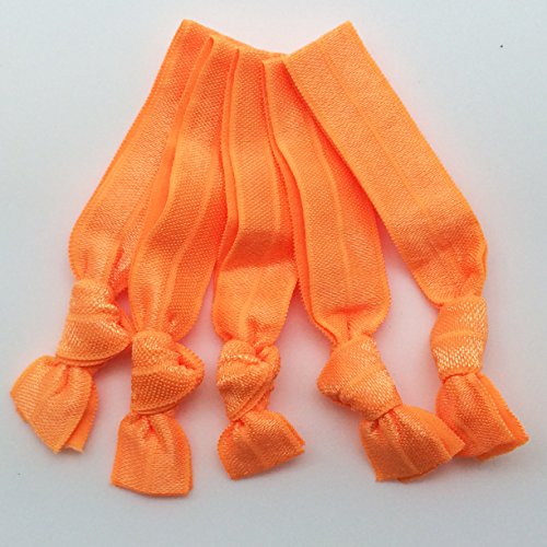 - PEPPERLONELY Brand 20PC No Crease Elastic Hair Ties - Neon Orange