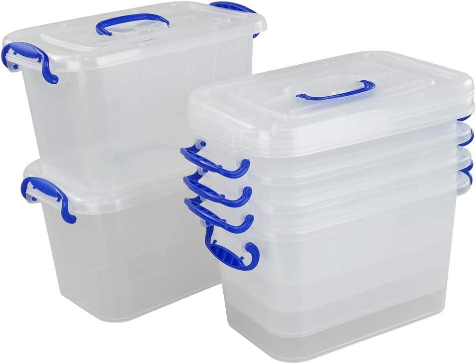 Pack de 6 Bo/îtes Transparentes avec Couvercles Fosly Caisses de Rangement Plastique