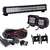 23Inch LED Light Bar Grille Bull Bar Fog Lights Front Rear Bumper Backup Light With 4In Pods Cube Fog Lights For Tractor Jeep Cherokees TJ Atv Suburban Yamaha Grizzly RZR Rubicon 4Wheeler F150 F350