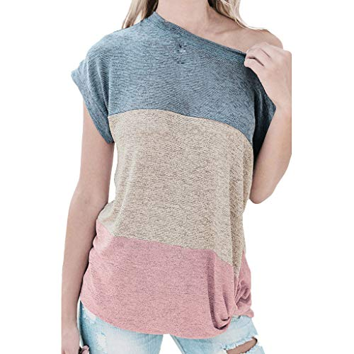 LYN Star  Womens Casual Color Block Short Sleeve Pullover Tops Loose Lightweight Tunic Sweatshirt Block Stripe T-Shirt Pink