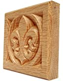 "Set of 4: Carved Fleur de Lis Rosette Blocks, Made in USA (3.5""x3.5"" RED Oak)"