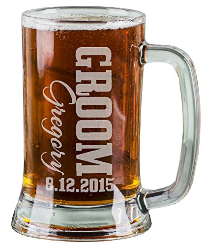 Groom Party Stein (One 16 Oz Groom Groomsmen Beer Mug Wedding Party Gifts for Groom Groomsman Beer Glass Etched Engraved Custom with Name Wedding Title and a Date for Wedding, Engagement Bachelor or Bridal Party Gift or a Favor Idea Wholesale Bulk Quantity Discounts)