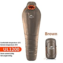 Naturehike Outdoor Duck Down Sleeping Bag Adult Mummy Sleeping Bag Winter Sleeping Bag Down Content 800g/1200g(NH17U120-L,brown)