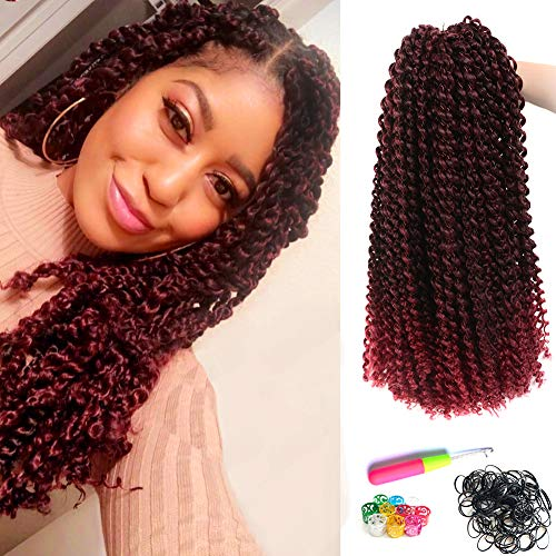 Red Curly Hair - 6Pcs Passion Twist Hair Ombre Red