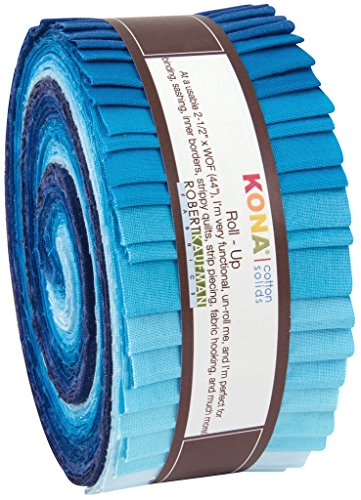 Robert Kaufman RU-440-40 Strips Kona Cotton Midnight Oasis Fabric, 2-1/2