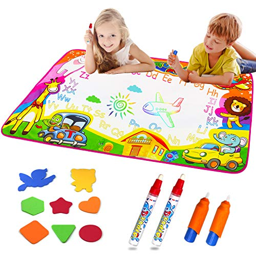 (TAIKER Aqua Magic Mat, Large Water Drawing Pad Water Doodle Pad 6 Colors Magic Doodle Mat Toys for Kids with 2 Magic Pens, 2 Brushes and 8 Molds 34 X 22 Inches Size)