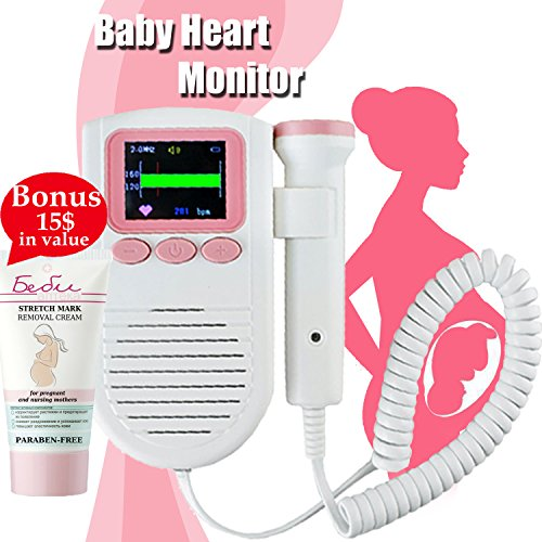 Hear Your Baby's Heartbeat with Fetal Doppler Heart Rate Pocket Monitor Sound Amplifier for Home Use Prenatal Womb Probe Detector Pregnancy Gift For New Mom + European Cream For Pregnat Women + E-Book
