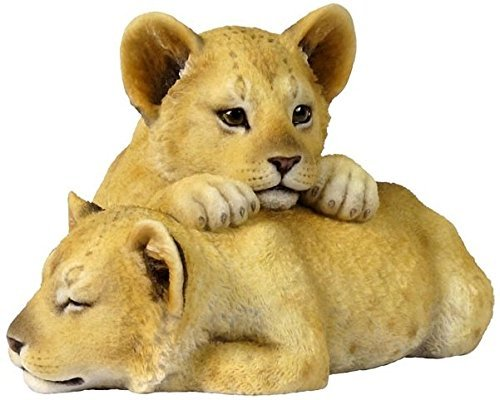 5.13 Inch Loving Lion Cubs Decorative Statue Figurine, Beige and Tan - Lion Cub Figurine