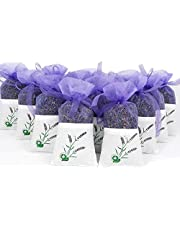 EBUYOM 10 Pack Scented Dried Lavender Buds Aromatic Air Fresh Sachets Dry Flowers Herb Home Decoration Sachets