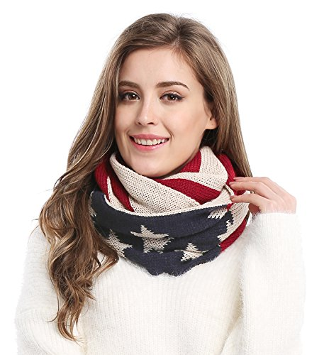 Unisex Thick Warm US American Flag Winter Knit Infinity Circle Scarf