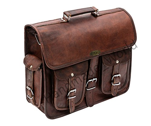 Handmade_world Leather Messenger Bag Brown 18 Inch Air Cabin Briefcase Leather Cross Body Shoulder Large Laptop School Bag by Handmade_world (Image #7)