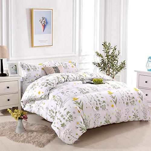 (Lightweight Microfiber Bedding Duvet Cover Set, Floral Print Pattern (Yellow Flower, Queen))
