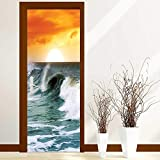 Home Door Sticker Decor Ocean Waves Digital Print Modern Family Decor Fabric Home Surfer Leisure View Scenery for Bedroom Doors W38.5 x H79 inch