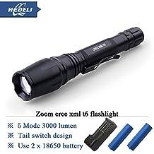 SOLEDI White, Black : high Power led Flashlight 3000LM CREE XM-L XML T6 LED ZOOMABLE Flashlight Aluminum Torch 2x18650 Battery