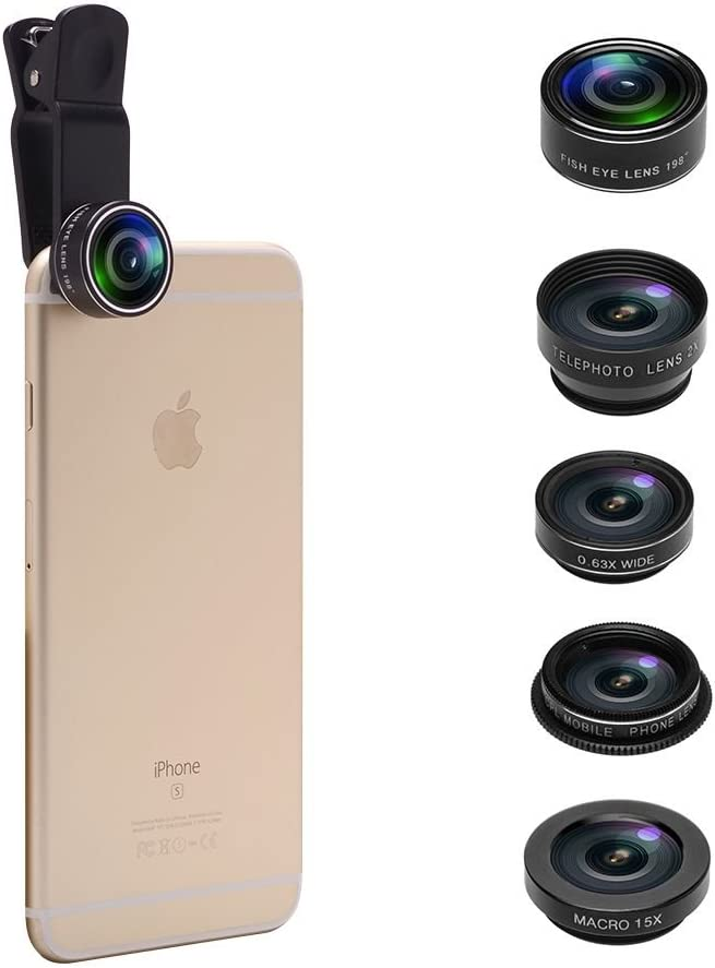 5 in 1 Cell Phone Camera Lens Kit Universal Clip Fisheye 15x Macro 0.63x Super Wide 2X Optical Zoom Telephoto Lens 198/° Fisheye Lens CPL Lens for iPhone Samsung Galaxy Smartphones