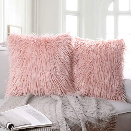 Ashler Pack of 2 Decorative Luxury Style Pink Faux Fur Throw Pillow Case Cushion Cover 18 x 18 Inch 45 x 45 -