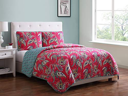 Morgan Home Printed 3 Piece Reversible Quilt Set with Shams - All Season Comfort, Available in, Colors & Sizes (Pink Paisley, Twin)