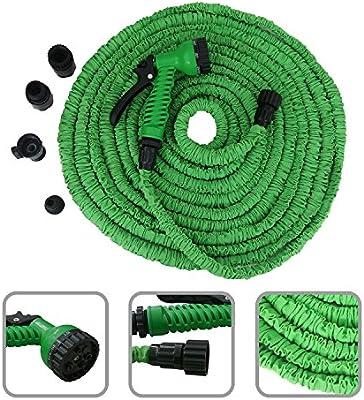 Sotech Manguera de jardín Extensible de 10 a 30 Metros – Manguera retráctil de Color Verde con Pistola de 7 chorros: Amazon.es: Hogar