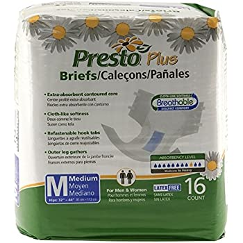 Presto Plus Breathable Brief, MD (6 bags of 16)