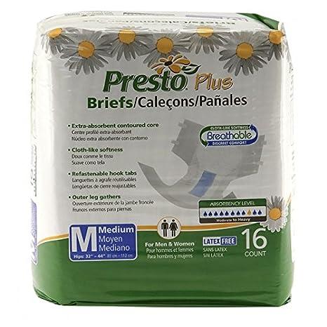 Amazon.com: Presto Plus Breathable Brief, MD (6 bags of 16): Health & Personal Care