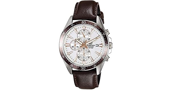 51b97321e Casio Men's White Dial Leather Band Watch - EFR-546L-7AVUDF: Amazon.ae