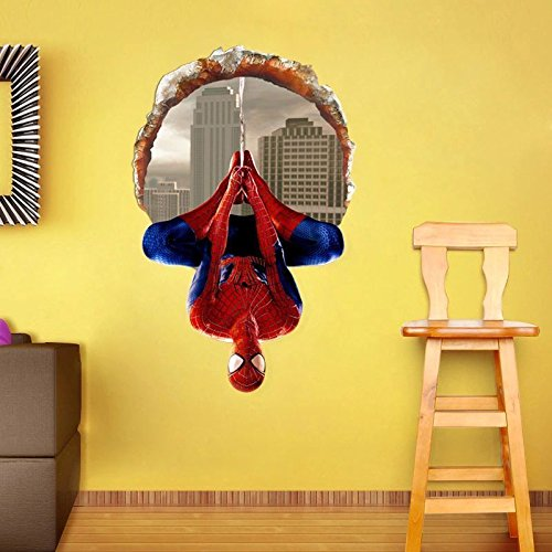 Wall Stickers for Kids 4060CM 3D Windows Spiderman Cartoon Movie HREO Home Decal Wall Sticker for Kids Room Decor Child boy Birthday Festival Gifts for $<!--$13.09-->