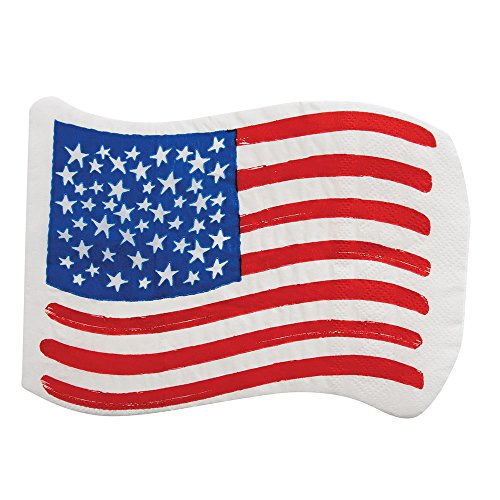 4th of July Decorations Party Ideas Cocktail Napkins Patriotic Stars Flag Pk 40 -