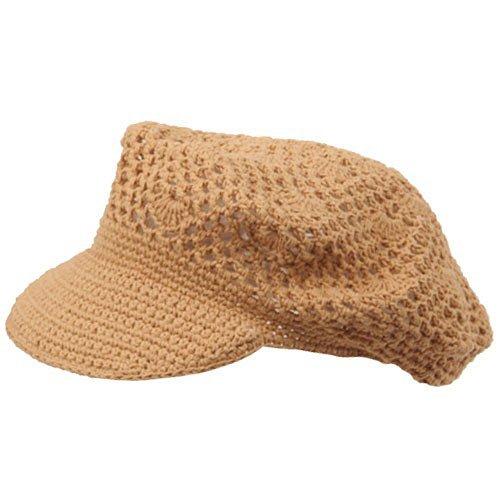 Rasta/NYE Crocheted Newsboy Hats(01)-Camel ()