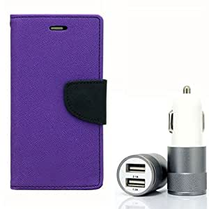 Aart Fancy Diary Card Wallet Flip Case Back Cover For Mircomax A106 - (Purple) + Dual ports USB car Charger With Ultra Power Technolgy by Aart Store.