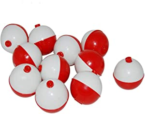 ZS 50 Pcs 1 inch Fishing Bobbers Floats Hard ABS Snap-on Round Floats Red and White Push Button Round Float Bobbers Fishing Corks Bulk, Fishing Tackle Accessories Kit