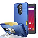 zte blade 3 case - ZTE Max XL/ZTE Blade Max 3 Case,ZTE Bolton Case (4G LTE) With Phone Stand,Ymhxcy [Credit Card Slots Holder][Metal Brushed Texture] Dual Layer Shockproof Protective Cover Shell For ZTE N9560-LCK Blue