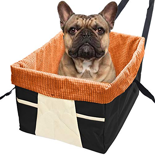 Skybox Dog Booster Seat for Cars with Seat Belt Tether, Black/Orange ()