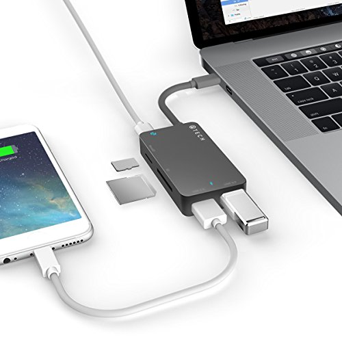 ATECH USB-C to USB 3.0 Hub with Power Delivery, with MicroSD/SD Card Reader for New MacBook, MacBook Pro, ChromeBook Pixel, and USB Type C Devices (Black) by ATECH INNOVATION (Image #3)