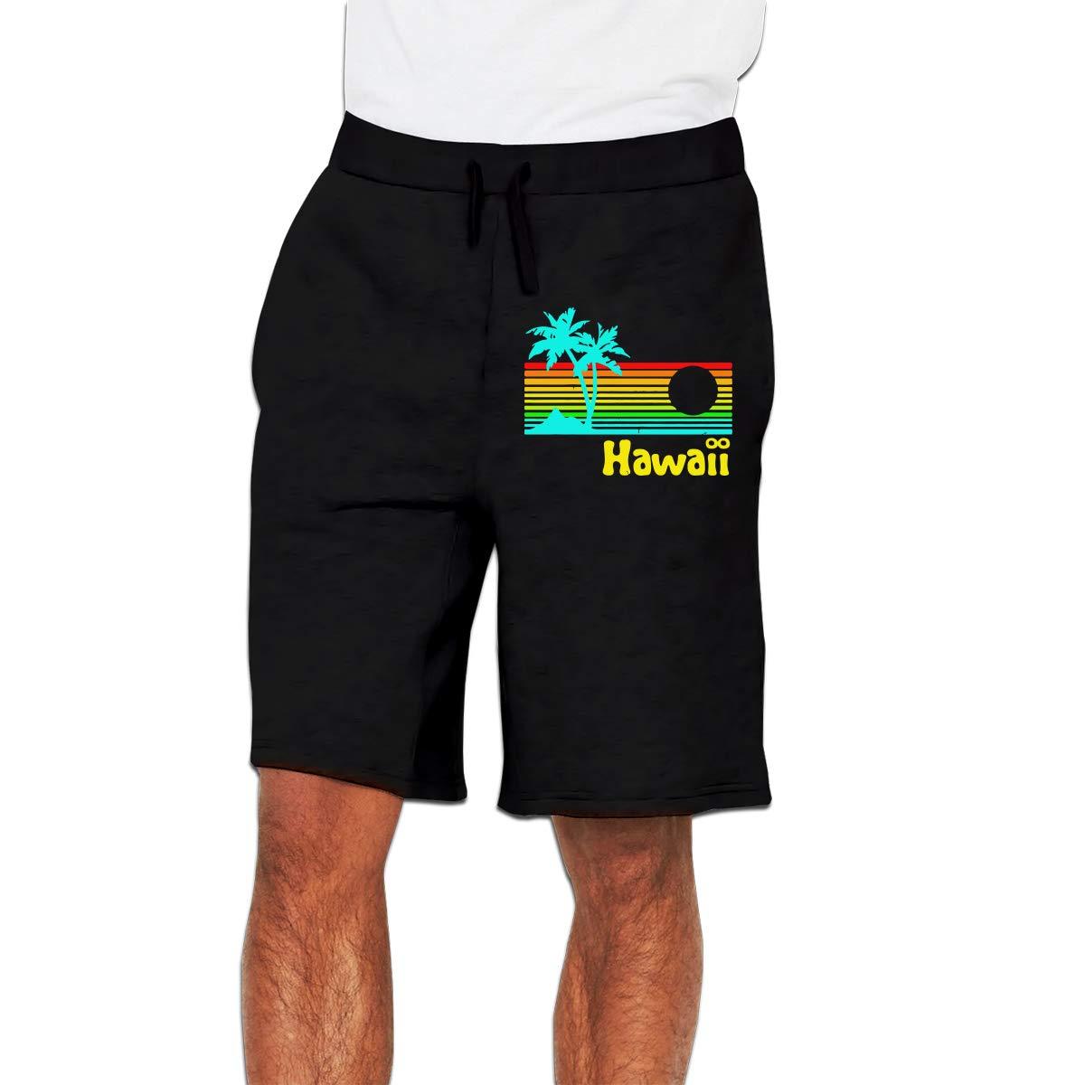 Mens Boardshorts with Elastic Waist Drawstring Trunks Retro Vintage Hawaii Patterned Gym Jogging Shorts