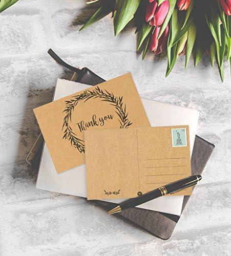 Multicolor Best Paper Greetings Tarjetas postales de agradecimiento de flores 10 x 15 cent/ímetros 60-Pack papel kraft con lado de env/ío