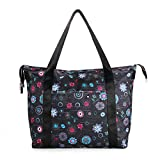 Women's Travel Tote Shoulder Handbag,Super Polyester Fibre Extra Large Lightweight Water Resistant Black with Flowers