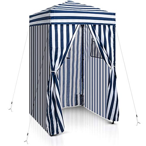 EAGLE PEAK Flex Ultra Compact 4'x4′ Pop-up Changing Room Canopy, Portable Privacy Cabana for Pool, Fashion Photoshoots, or Camping, Navy Blue/White
