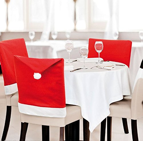 JCare 6 Pcs/Pack Santa Claus Red Hat Chair Covers Christmas Decoration Restaurant Kitchen Dining Table Decor Home Party by JCare (Image #1)