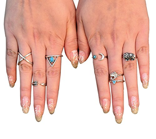 Cougar's Choice® 7 Pcs Fashion Vintage Turkish Arrow Moon Turquoise Joint Knuckle Nail Midi Ring Set Boho Ring Set (Silver)