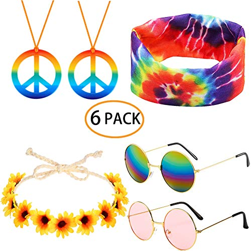 Trio Females Halloween Costumes You (6pcs Hippie Costume Set Includes Rainbow Peace Sign Necklace Daisy Sunflower Crown Headband Colorful Tie Dye Bandana Hair Band Retro Round Sunglasses 60s 70s Hippie Party Accessory for Women)