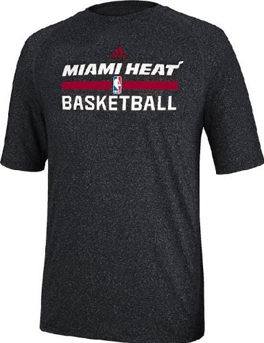 adidas Miami Heat Heather Black Climalite Practice Short Sleeve Shirt (XL=48)