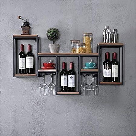 FCXBQ Estante para Vino de Pared Metal Hierro para Bar | Portavasos de Vino de Madera | Puesto de vinos | Titular de Copa | Vinoteca de Pared | Estante para Cubos de Pared