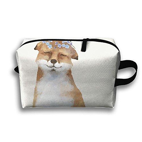ODLS7 Fox Travel Multifunction Toiletry Organizers Business Bag Cosmetic Bag Women Men (Fabulous Fox Christmas White)
