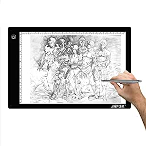 AGPtek 9.45X14.17 Inch LED Artcraft Tracing Light Pad A4 size Light Box Ultra-thin USB Power Cable Dimmable Brightness Tatoo Pad Aniamtion, Sketching, Designing, Stencilling