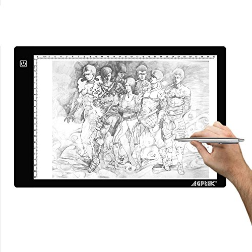 AGPtek 9.45X14.17 Inch LED Artcraft Tracing Light Pad A4 size Light Box Ultra-thin USB Power Cable Dimmable Brightness Tatoo Pad Aniamtion, Sketching, Designing, Stencilling (The Size And Thickness Make compare prices)