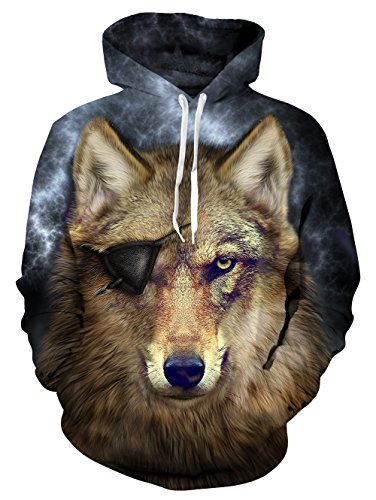 Loveternal Wolf Hoodie Galaxy 3D Sweatshirts Cool Pullover Mens Pullover Funny Long Sleeve with Pocket for Women Men XL ()
