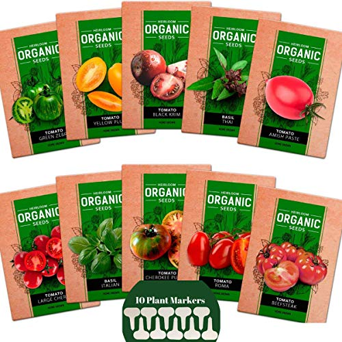 Planting Tomato Seeds - Heirloom Tomato Seeds and Basil Herb Pack, 8 Tomato 2 Basil Seeds Variety,  Non GMO and Organic, 10 Plant Markers and Instructions Included