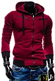 Sorrica Men's Color block Zipper Hoody Casual Coat Slim Fit Jacket (US Medium, Wine Red)