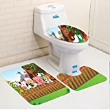 Keshia Dwete three-piece toilet seat pad customCartoon Collection of Cute Farm Animals on the Fence Comic Mascots with Dog Cow Horse for Kids Multi